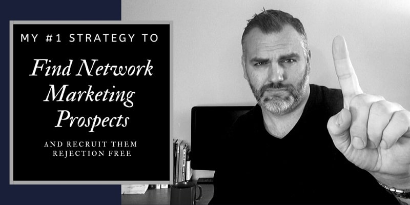 """An image that has text to the left side of it that says: How to find network marketing prospects"""". To the right of the image is a photo of a man sitting in front of his computer and web camera doing a training."""