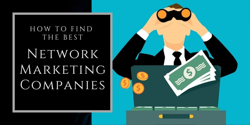 """A cartoon man with binoculars up to his face wearing a suit with a briefcase full of money in front of him. The words """"how to find the best network marketing opportunities"""" are written in text to his right."""