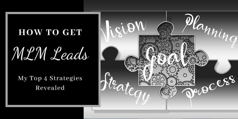 A puzzle that's pieces are vision, strategy, planning, and process. The missing piece in the middle is goals. The title of the image is: how to get MLM leads.