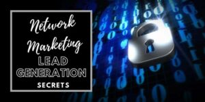 A pad lock over top of a background that looks like the matrix with the words network marketing lead generation secrets typed in the top left corner
