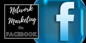 Glossy Facebook image on a black back and network marketing on Facebook positioned to the left of the logo.