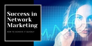 A female writing on a see through graph. She is drawing a chart. The title of the chat is success in network marketing.