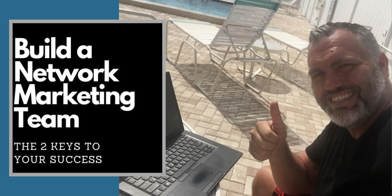 Robb Corbett pool side with this lap top. He is giving the thumbs up sign and it says he is training on how to build a network marketing team.