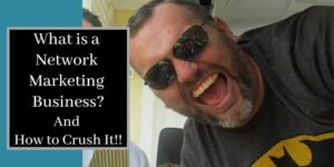 A photo of robb corbett on a golf cart laughing with what is a network marketing business written next to him.