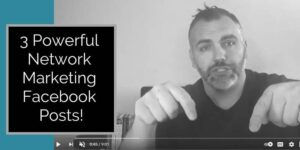 A man sitting in a chair in front of his computer, he is point down to the ground with index fingers on both hands, there are books on the desk behind him and the words 3 powerful network marketing posts are written to the left of the photo