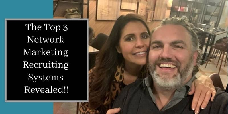 Robb Corbett with his girl friend out to dinner and the words the top 3 network marketing recruiting systems written on the side of the picture