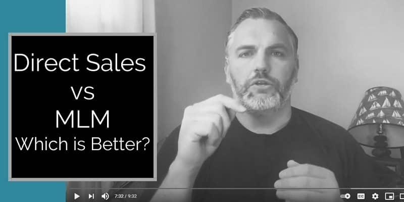 Guy sitting in a big arm chair with left hand pointed in the air. He has a short beard and an under armour short on and direct sales vs MLM written on the image to the left of the man.