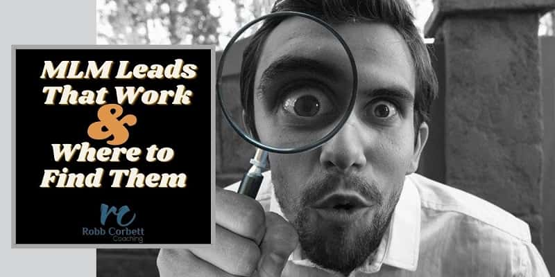 man with magnifying glass up to his eye searching around with the words mlm leads that work and where to find them written next to his head