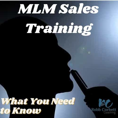MLM sales Training written above a man thinking with his pen to his lips