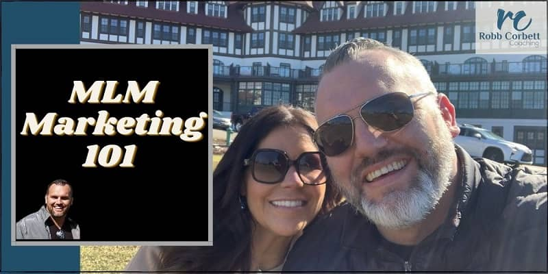 a man and a woman out from of the algonquin hotel in saint andrews nb.  Text on the photo says MLM Marketing 101.